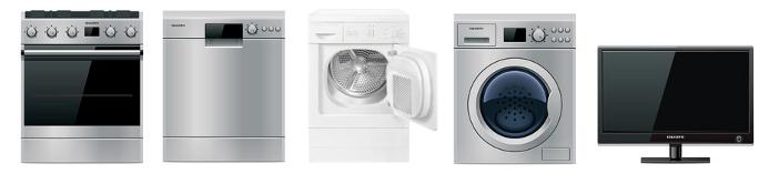 Elektroherd Geschirrspüler Waschmaschine Trockner LCDFernseher